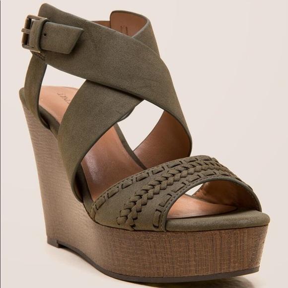 Olive Green Platform Wedge Sandal